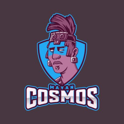 Gaming Logo Template with Character Inspired by Maya Culture 3600D