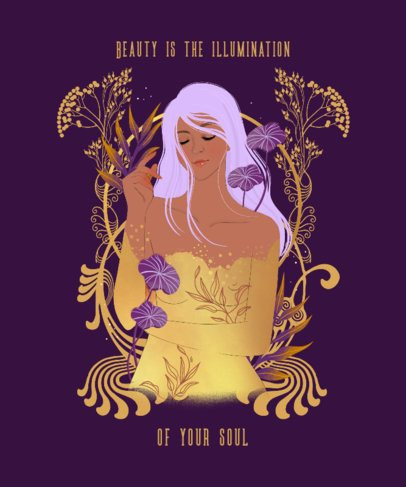 Art Nouveau-Themed T-Shirt Design Creator Featuring a Woman Among Flowers 2834e