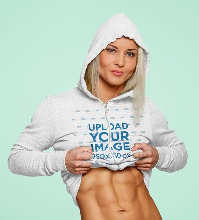 Heather Hoodie Mockup of a Strong Woman Showing Off Her Abs 41101-r-el2
