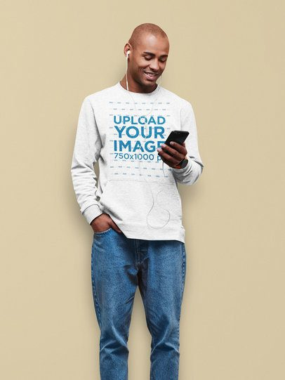 Heather Sweatshirt Mockup of a Man Listening to Some Music with a Colored Background 38253-r-el2