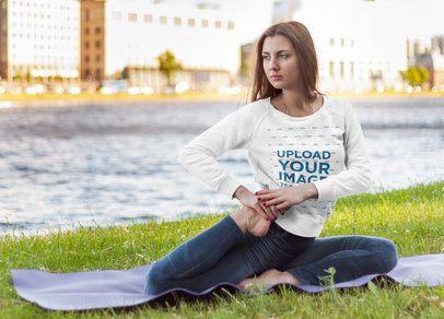 Sweatshirt Mockup of a Woman Doing Yoga by a River 38663-r-el2