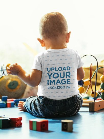 Back View Mockup of a Toddler with a T-Shirt Playing with Blocks 41898-r-el2