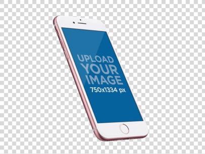 Transparent Mockup of an Angled Rose Gold iPhone 7 In Portrait Position while Floating a13788