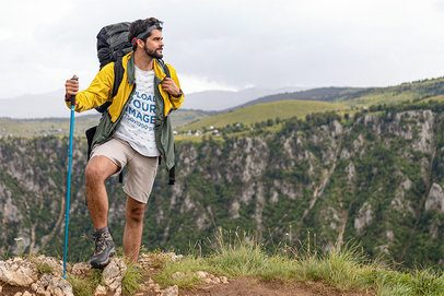 Heather T-Shirt Mockup Featuring a Hiker  42082-r-el2