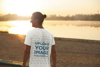 Mockup of the Back of a Man Wearing a T-Shirt While Watching the Sunset 39515-r-el2