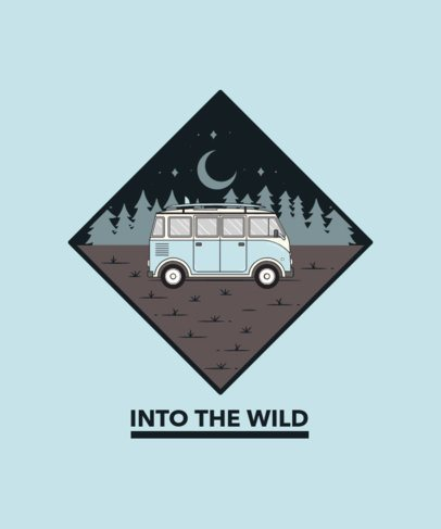 T-Shirt Design Creator Featuring a Retro Van Camping in the Woods 2618a-el1