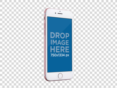 Transparent Mockup Of An Angled Pink iPhone 6 On Portrait Position a13790