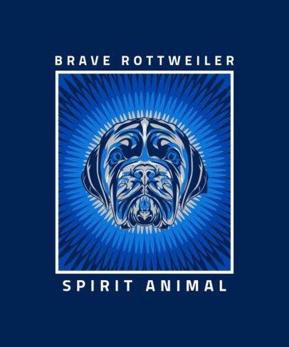 T-Shirt Design Template with a Brave Rottweiler Illustration 2715e-el1
