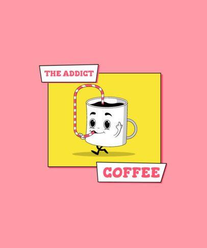T-Shirt Design Template Featuring a Funny Coffee Mug Cartoon 2633c-el1