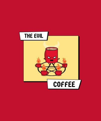 T-Shirt Design Generator Featuring an Evil Coffee Cup Character 2633f-el1