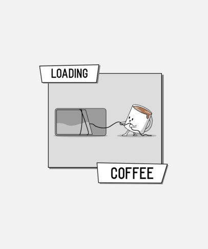 T-Shirt Design Creator with an Ironic Cartoon of a Coffee Cup 2633i-el1