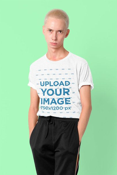 T-Shirt Mockup Featuring a Man with a Nose Piercing Posing in a Studio 39979-r-el2