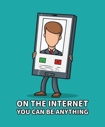 Funny T-Shirt Design Creator Featuring a Smartphone with a Social Media Profile 2643b-el1