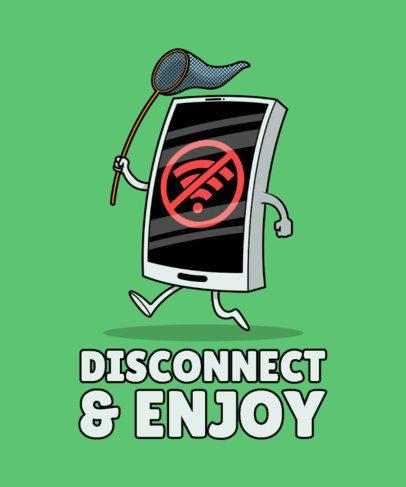 T-Shirt Design Maker Featuring a Joyful Smartphone without WiFi 2643e-el1