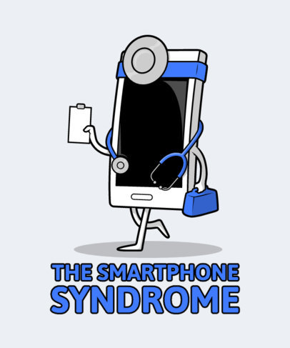 Funny T-Shirt Design Creator with a Smartphone in a Doctor's Costume 2643i-el1