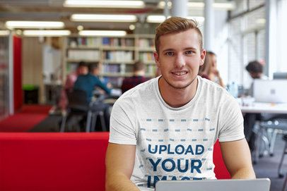 T-Shirt Mockup of a Young Man in a Library 38027-r-el2