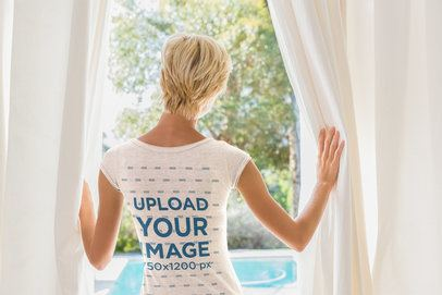 Back-View Mockup of a Short-Haired Woman Wearing a T-Shirt 40614-r-el2