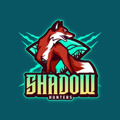 Logo Creator for a Gaming Team with a Wild Fox Graphic 3620b
