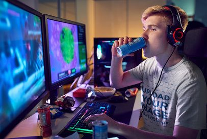 Mockup of a Pro Gamer Wearing a T-Shirt 35182-r-el2