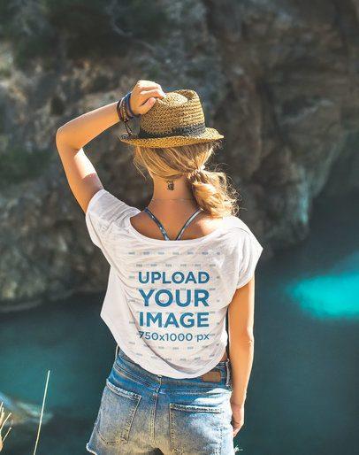 Back-View Mockup of a Woman Wearing a Crop Top 37613-r-el2