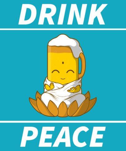 T-Shirt Design Maker Featuring a Beer Glass Cartoon Meditating 2651c-el1
