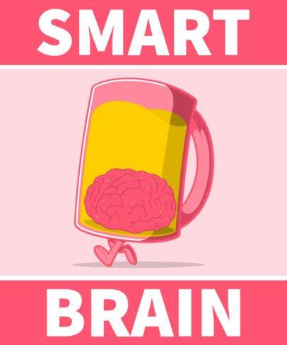 Illustrated T-Shirt Design Generator Featuring a Brain Inside a Beer Mug 2651d-el1