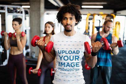 Heather T-Shirt Mockup of a Man Training at the Gym 40684-r-el2