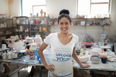 T-Shirt Mockup of a Smiling Woman at a Pottery 41582-r-el2