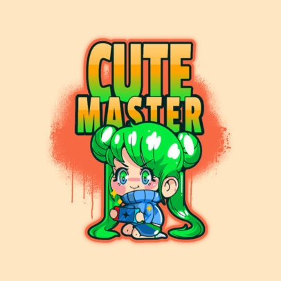 Logo Maker for a Gaming Squad with a Chibi-Style Girl Graphic 3626c