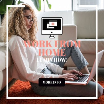 Ad Banner Template Featuring Work From Home Graphics 2900