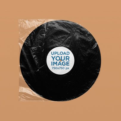 Minimal Mockup of a Vinyl Record Inside a Plastic Bag 4958-el1