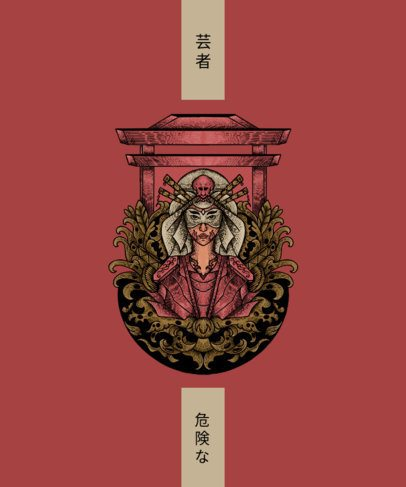 Trendy T-Shirt Design Maker Featuring Japanese Art-Inspired Illustrations 2816-el1