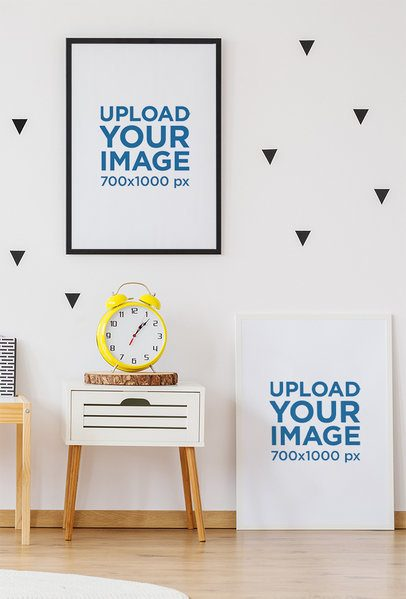 Mockup of Two Art Prints Placed by a Wall with Decorations 35553-r-el2