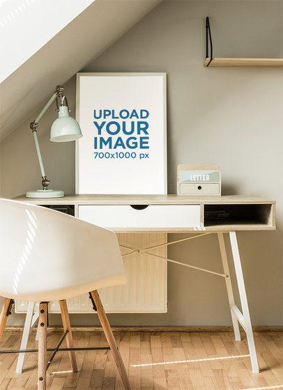 Art Print Mockup Placed over a Bedroom's Desk 36150-r-el2
