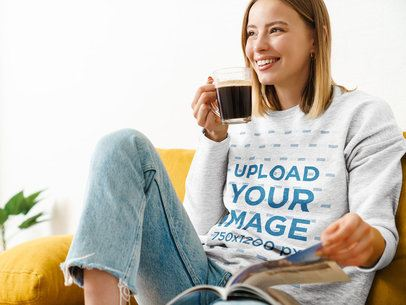 Heathered Sweatshirt Mockup of a Woman Drinking a Coffee at Home 39558-r-el2