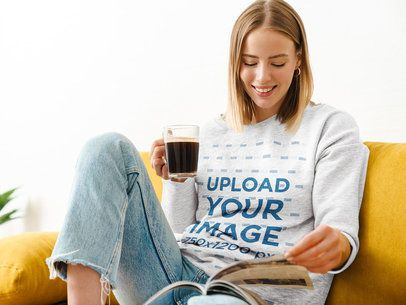 Heather Sweatshirt Mockup of a Woman Chilling at Home 39830-r-el2