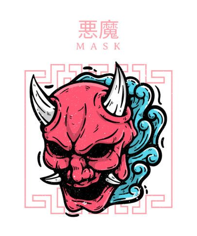Illustrated T-Shirt Design Maker Featuring an Oni Mask 2768a-el1