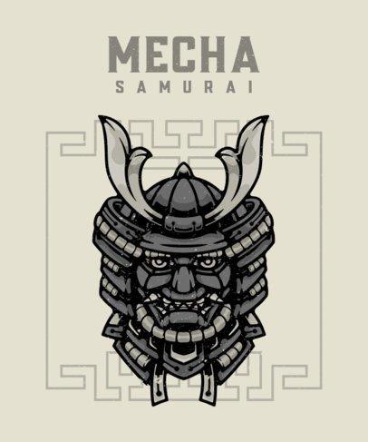 Japanese-Inspired T-Shirt Design Maker with a Mecha-Samurai Graphic 2768e-el1
