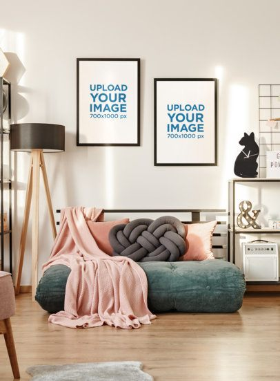 Mockup of Two Art Prints in a Girl's Living Room 38877-r-el2