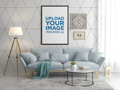 Art Print Mockup Featuring a Neatly Decorated Living Room 35645-r-el2