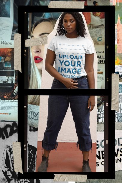 Collage-Style Mockup of a Woman Wearing a T-Shirt 42537