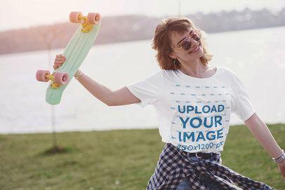 Unisex T-Shirt Mockup of a Joyful Female Skater by a Lake 42228-r-el2