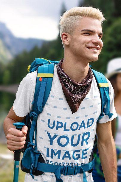 Mockup of a Young Hiker Wearing a T-Shirt 42059-r-el2
