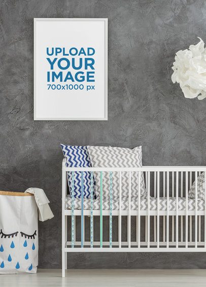 Mockup Featuring an Art Print Hanging Above a Baby's Crib 35554-r-el2