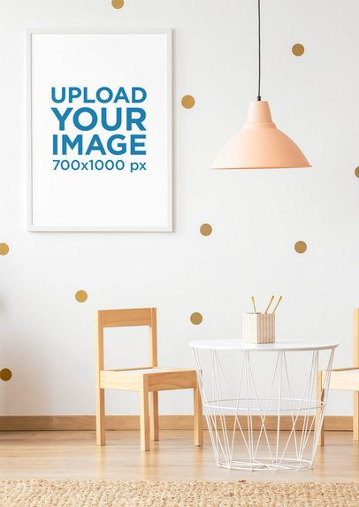 Mockup Featuring an Art Print Hanging in a Modern Children Room 36035-r-el2