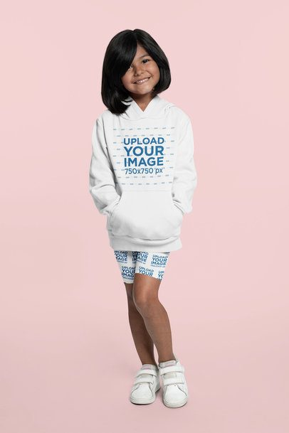 Mockup of a Little Girl Wearing a Hoodie and Bike Shorts 42366