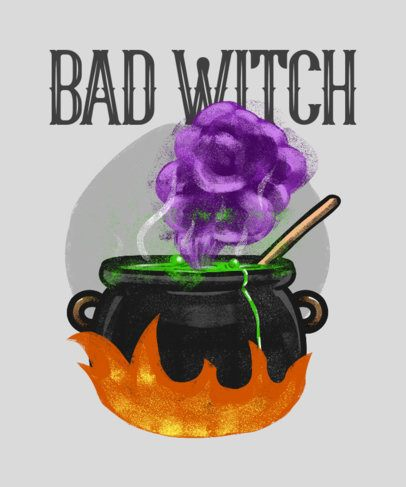 T-Shirt Design Creator Featuring the Cauldron of a Witch 2895b