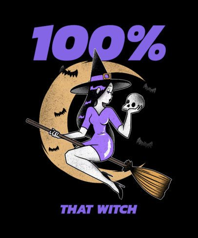 Sassy T-Shirt Design Maker with an Illustration of a Witch 2895e