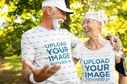 Activewear T-Shirt Mockup Featuring a Happy Senior Couple Going for a Walk 40668-r-el2