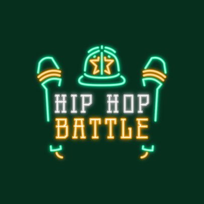 Hip-Hop Themed Neon Logo Maker Featuring Microphone Graphics 3633l